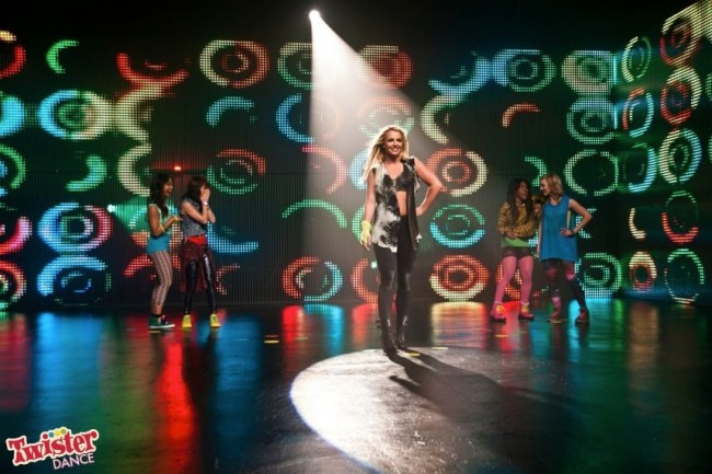 Britney Spears on a commercial shoot for Twister Dance.