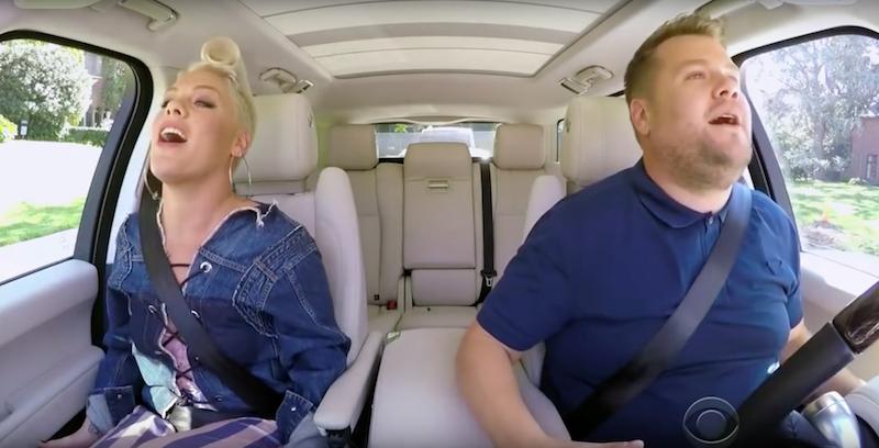 Watch pink joins james corden in carpool karaoke news for Car pool karaoke show