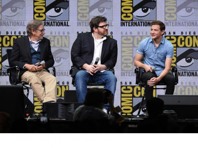 Director Steven Spielberg, author Ernest Cline and actor Tye Sheridan at