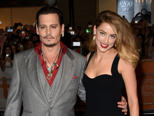 Johnny Depp and then-wife, Amber Heard, in Sep 2105 at the premiere of